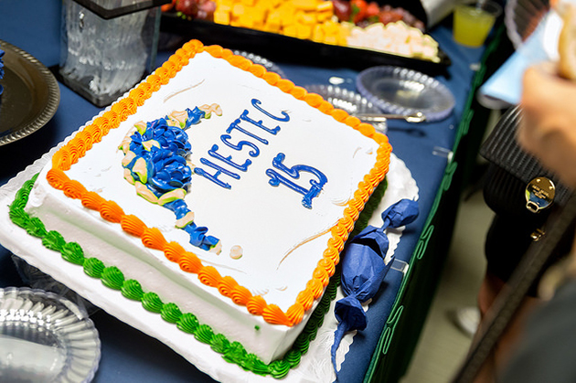 What's an anniversary celebration without cake! UTRGV on Thursday, Sept. 29, 2016, launched the 15th anniversary of HESTEC, during a press conference at the Visitors Center on the Edinburg Campus. (UTRGV Photo by Paul Chouy)