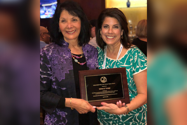 Dr. Selma Yznaga (at right), associate professor of counseling at The University of Texas Rio Grande Valley, has been awarded the 2018 Kitty Cole Human Rights Award by the Association for Multicultural Counseling and Development. Pictured at the award ceremony are Yznaga and colleague Dr. Patricia Arredondo, special advisor to the dean for Academic Affairs at Fielding Graduate University, who nominated Yznaga for the award. (Courtesy Photo)