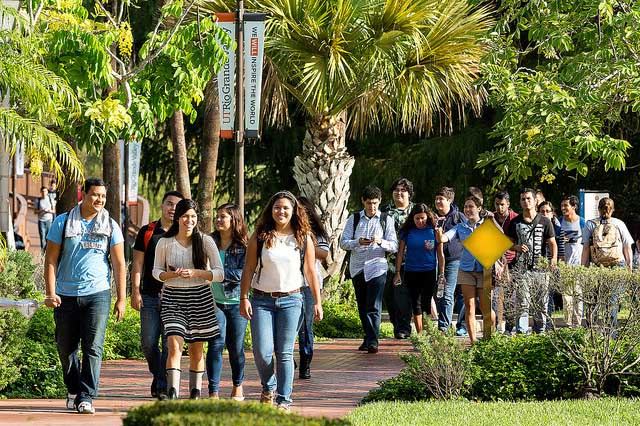 Student in transit across the UTRGV Brownsville campus.