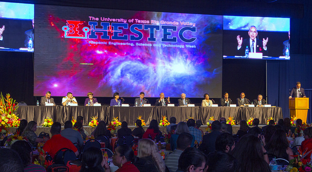 HESTEC 2015's Educator Day was emceed by Telemundo anchor José Díaz-Balart and featured U.S. Reps. Rubén Hinojosa (in the screen shot at top right), Filemón Vela (TX-34), Joaquín Castro (TX-20), Marcia L. Fudge (OH-11) and Judy Chu (CA-27), as well as representatives from education, federal agencies and industries. (UTRGV Photo by David Pike)