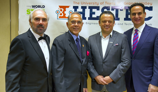 (From left) UTRGV Founding President Guy Bailey, U.S. Congressman Rubén Hinojosa, actor and comedian Paul Rodriguez, and emcee and Telemundo anchor José Díaz-Balart, helped kick off UTRGV's first HESTEC Congressional Dinner, Sunday, Oct. 4, 2015, at the Edinburg Conference Center at Renaissance. (UTRGV Photo by David Pike)