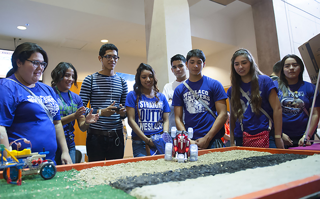 Weslaco High School juniors got to maneuver robots and learn about the STEM fields, during one of the breakout sessions at HESTEC 2015's Student Leadership Day on Tuesday, Oct. 6. (UTRGV Photo by Josué Esparza)