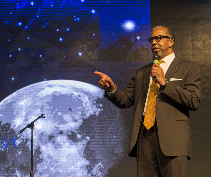 Dr. Bernard Harris, a former astronaut and founder of the Bernard Harris Foundation, delivered the keynote address during HESTEC's Student Leadership Day. He is the first African American to walk in space, and a medical doctor by trade. (UTRGV Photo by Kristela Garza)