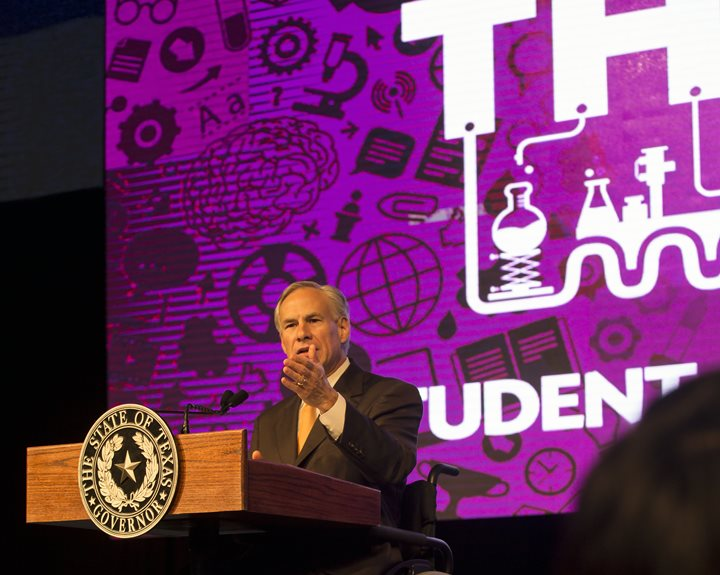 Texas Gov. Greg Abbott spoke at UTRGV during HESTEC's Student Leadership Day on Tuesday, Oct. 6, 2015. He urged students to meet challenges head on and determine their own destiny. (UTRGV Photo by David Pike)