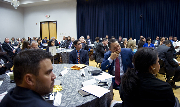 Image of Area superintendents gather at HESTEC for leadership breakfast, round table discussions