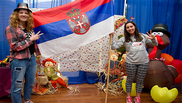 UTRGV International students from serbia participating in Thanksgiving luncheoan