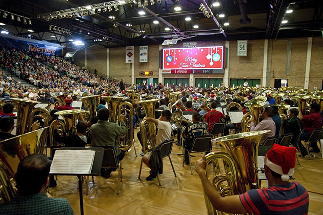 About 350 tuba and euphonium students and professionals from the Rio Grande Valley performed during the popular annual Tuba Christmas concert, Sunday, Dec. 13, 2015, at the UTRGV Fieldhouse on the Edinburg Campus. (UTRGV Photo by Kristela Garza)