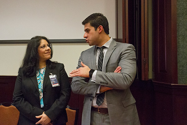Alicia Morley and Omar Saenz participated in the panel discussion of Sexual Assault and Harassment forum.