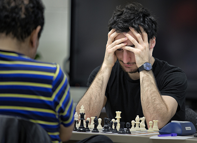 Ranked chess players from around the world are gathered on the UTRGV Brownsville Campus to participate in a GM-norm International Chess Tournament. Here, Zurab Javakhadze, of the country of Georgia, competes against Roberto Martin Del Campo of Mexico. The tournament concludes on Sunday, Jan. 10. (UTRGV Photo by David Pike)