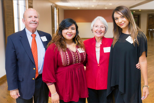 At the Endowed Scholarships Luncheon on the Brownsville Campus, Taylor (left) and Martha Blanton (second from right) were seated with students Josie Del Castillo (second from left) and Melissa Vega (right), recipients of the Oris Robertson Scholarship for art majors. Martha Blanton was a friend of the late artist, and contributed to a scholarship endowment established in his name. (UTRGV Photo by David Pike)