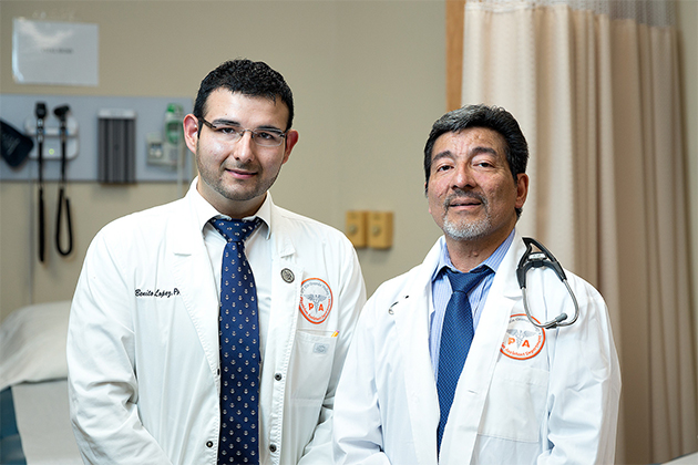 The UTRGV Department of Physician Assistant Studies, in the College of Health Affairs, has received approval from the Accreditation Review Commission on Education to enlarge its physician assistant master's program over the next three years. Frank Ambriz (at right), chair of the department, said the MPAS degree paves the way for a high-demand career for students like Benito Lopez (at left), who is on track to graduate with the MPAS in December. (UTRGV Photo by Paul Chouy)