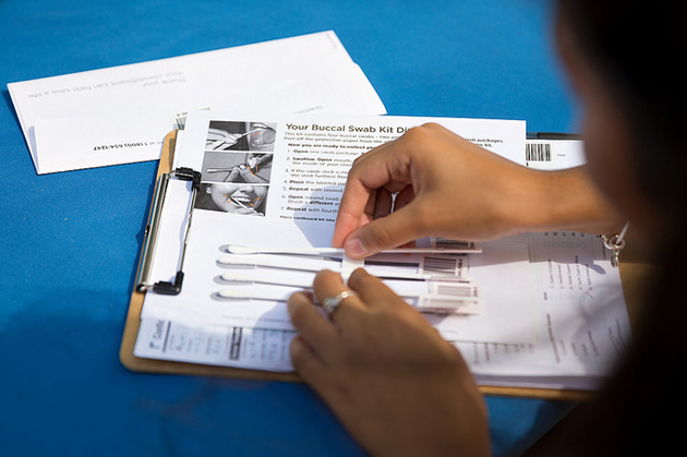 Potential bone marrow donors use a Buccal Swab Kit, like the one shown here. After passing the swab inside the mouth, the swab is placed in an envelope for testing that will determine a match to anyone on the registry. (UTRGV Photo by Paul Chouy)