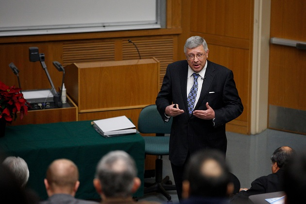 UTRGV College of Engineering & Computer Science (CECS) Dean Dr. Alexander Domijan addresses college faculty, staff and stakeholders during the CECS Town Hall on Friday, Dec. 09, 2016 at the Engineering building in Edinburg, Texas. UTRGV Photo by Paul Chouy