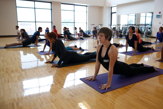 UTRGV School of Medicine students took part recently in a morning yoga class at the Wellness and Recreation Sports Complex in Edinburg.