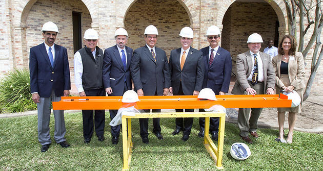 The UTRGV Brownsville Campus on Tuesday, March 22, held Can You Dig It? to celebrate the launch of construction on a $54 million Academic Building that will house environmental sciences, music, labs and study areas. Special guests, from left, included Dr. Parwinder Grewal, dean of the College of Sciences; Brownsville Mayor Tony Martinez; UTRGV President Guy Bailey; Texas Sen. Eddie Lucio Jr.; UT Regent Ernest Aliseda; UTRGV Provost Havidán Rodríguez; Dr. Steven Block, dean of the College of Fine Arts, and Dr. Janna Arney, Chief of Staff and vice president for operations. (UTRGV Photo by David Pike)