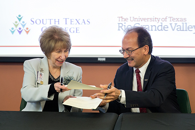 Dr. Anahid Petrosian, STC interim vice president for Academic Affairs, and Dr. Havidán Rodríguez, UTRGV provost and executive vice president for Academic Affairs, signed 26 articulation agreements at a ceremony held at STC