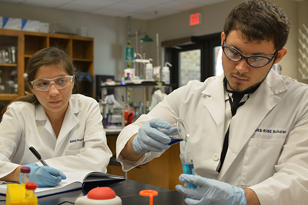 Crystal Ramirez and Victor Hinojosa, UTRGV Biomedical Science majors, are shown here making different buffer solutions for use in their research.