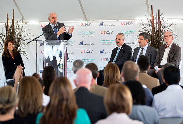 UTRGV President Guy Bailey, during a ground breaking ceremony on Wednesday, Oct. 26, 2016, said the UTRGV Research Facility at DHR will help bring the university one step closer to one of its main goals.