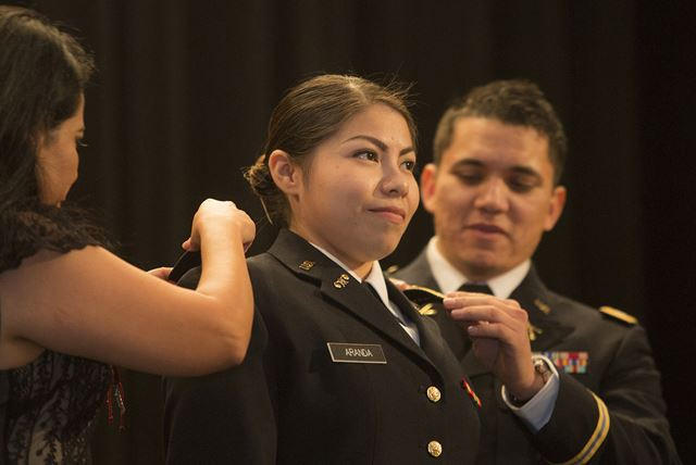 ROTC cadet Ilse Aranda receives commission as second lieutenant in U.S Army Reserves
