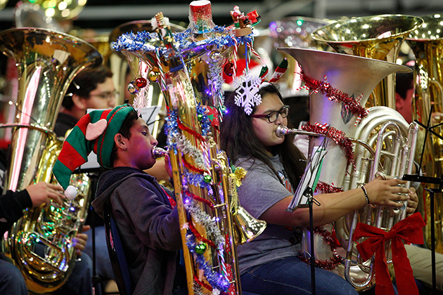 UTRGV hosted Tuba Christmas on Sunday, Dec. 04, 2016 at the Fieldhouse in Edinburg, Texas. An ensemble of more than 450 tuba and euphonium professionals and students