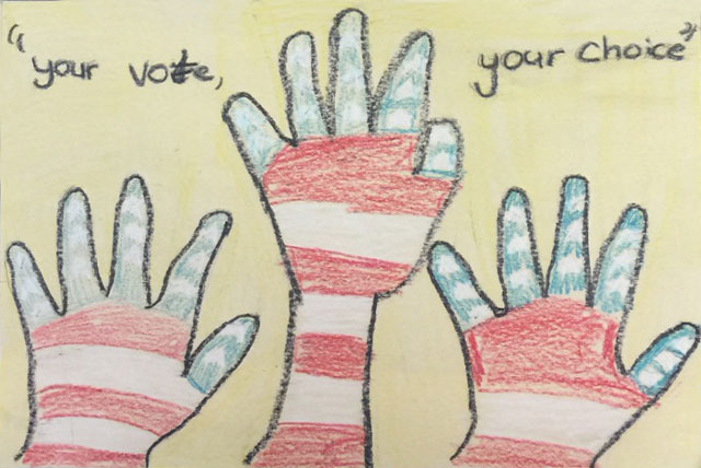 Elementary school students from Brownville ISD drew pictures for an art contest to encourage their peers to participate in Kids Voting USA. (Courtesy photos)