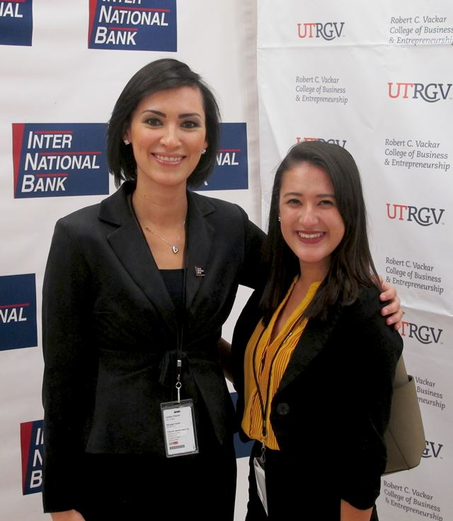 Lesley Chavez, Inter National Bank director of research and development, and Josie Balderrama, a UTRGV junior from Laredo