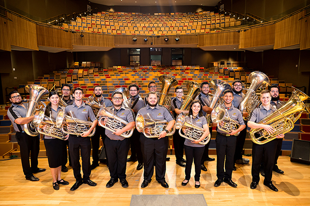 The UTRGV Tuba/Euphonium Ensemble has traveled extensively and now will go to Washington, D.C., to perform on Feb. 2 at the annual U.S. Army Band Tuba Euphonium Workshop. The UTRGV ensemble, made up of the 16 student musicians shown here, is the only collegiate ensemble invited to perform at the workshop.