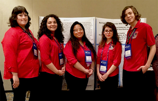 UTRGV Holmes Cadets in March attended the 69th annual Holmes Conference, held by the American Association of Colleges for Teacher Education in Tampa, Fla. The students are, from left, Tiffany Johnson, Karla Gutierrez, Aylie Moya, Sara Rodriguez and James Kazen. (Courtesy Photo)