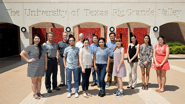 UTRGV Gilman scholarship students and faculty came together in late April on the UTRGV Edinburg Campus to discuss their upcoming travel abroad and the procedures and needs for each trip. From left are Flor Saldivar, Dr. Robert Bradley, Dr. Mark Andersen, Arael Meza, Robert Gilbert, Alma De la Mora, Ping Xu, Ofelia Alonso, Oscar Trujillo, Arlet Villarreal, Jaqueline Becerra, Rebecca Bui and Martha Garcia. Not pictured are Ofelia Alonso, Eufemia Mata and Gus Resendez. (UTRGV Photo by Paul Chouy)