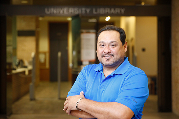 Reymundo Ortiz, a UTRGV psychology student and U.S. Army veteran, will study the effects of PTSD on veterans, this summer at Syracuse University in New York, as part of a National Science Foundation-funded project. (UTRGV Photo by Paul Chouy)