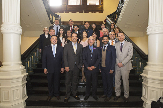 The eleven UTRGV students who participated as interns during the 85th Texas Legislative Session are pictured during RGV Day at the State Capitol with some of the RGV state legislators they served as well as UTRGV administrators including UTRGV President Guy Bailey. The UTRGV inaugural Legislative Internship Program was made possible with the support of the UTRGV Foundation. (Courtesy Photo)