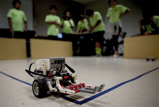 This Lego Mindstorms EV3 robot was built by Sharyland elementary school students during the UTCRS Railway Safety camp. UTRGV is hosting its fourth annual University Transportation Center for Railway Safety summer camp from June 5-30. This year, more than 1,000 students grades 3-12 are learning the fundamentals of science through hands-on activities. (UTRGV photo by Silver Salas)