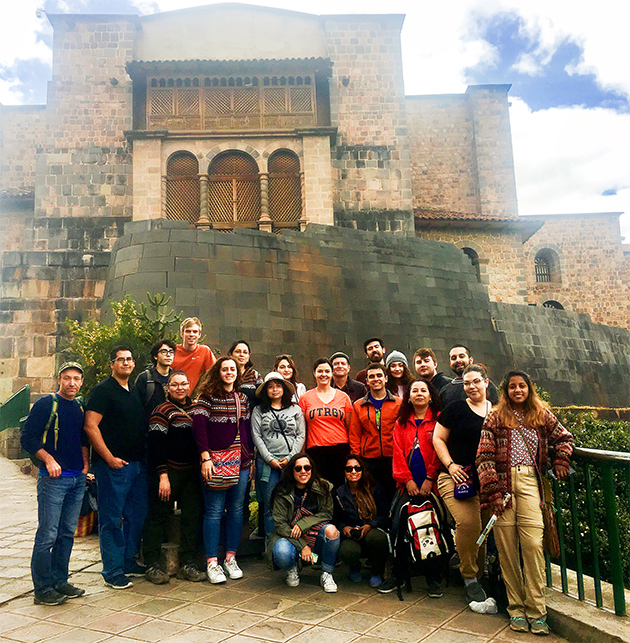 A group of UTRGV art students spent time in Peru this summer, learning about the country's history, art and architecture during a study abroad trip. Students traveled and studied with seasoned Peru explorer, Dr. Robert Bradley, associate professor in the School of Art, and Dr. Katherine McAllen, assistant professor in the School of Art. The trip included strenuous treks that put students in the footsteps of Andean people, past and present, including a trek up the Salkantay Trail to arrive at Machu Picchu. (Courtesy Photo)