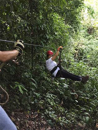 UTRGV study abroad student Alejandra Torres, on a zip line in Costa Rica. (Courtesy Photo)
