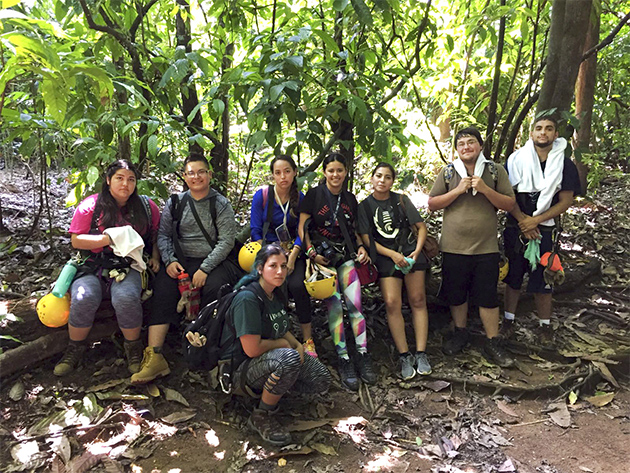 "UTRGV students who participated this summer in a two-week study abroad trip to Costa Rica are seen here after a day of tree climbing. They are, from left, Victoria Mendez, Guadalupe Puentes, Jennifer Millan, Kimberly Latigo, Arlette Segoviano, David Mata, George Longoria. Front: Alejandra Torres. (Not pictured: John Rodriguez.) The course was English composition, ""Living, Reading, Writing Nature."" The group lived at the Hacienda Barú Wildlife Refuge and Lodge, 830 acres reclaimed from a cattle ranch and now dedicated to local conservation and education. (Courtesy Photo)"