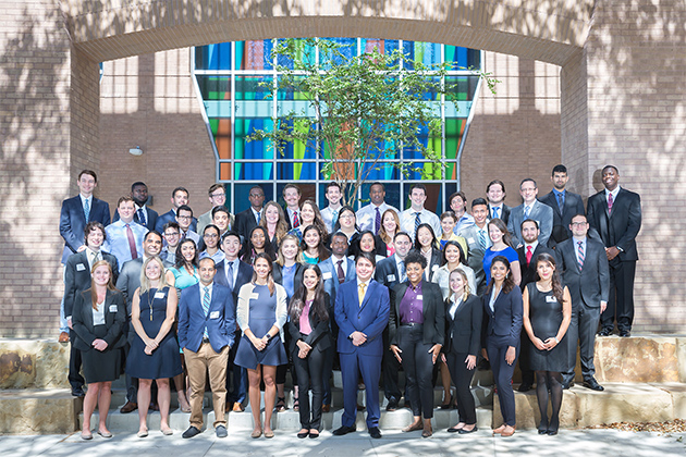 The UTRGV School of Medicine's second cohort posed for a class photo Wednesday, July 5, 2017, outside the Medical Education Building on the Edinburg Campus. The class includes 16 students from the Rio Grande Valley, and is diverse, with ages ranging from 21 to 41, with 27 men and 23 women. (UTRGV Photo by Paul Chouy)