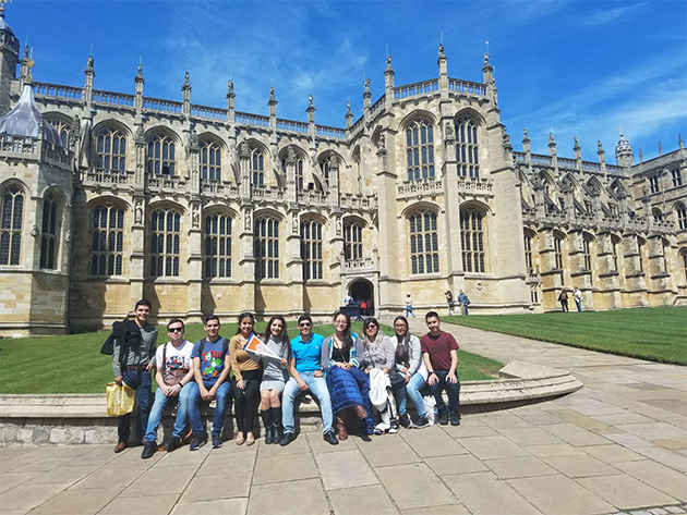 UTRGV students rest for a moment in front of St. George's Chapel at Windsor Castle, during their summer study abroad trip to London. The students are, from left to right, Alejandro Castellanos, Jose Saldivar, Darryn Vasquez, Jasmine Rodriguez, Lesley Gomez, Victor Acosta, Josie Fuentes, Diana Hernandez, Maria Ortiz and Isaac Salazar. The group is among the 16 students attending one, or both, courses travelling together: creative writing taught by Marianita Escamilla, lecturer in the Department of Writing and Language Studies, and an introductory communication course taught by Dr. Christina Spinetta, assistant professor in the Department of Communication. (Courtesy Photo)