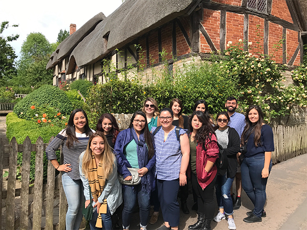 UTRGV summer study abroad students stand outside the home of Anne Hathaway, Shakespeare's wife, in Stratford-upon-Avon, England. Front row, from left, are Brittany Ledesma, Odalys Almanza, Clarissa Villarreal, Paola Quijano, Arhyssa Ozuna, Sandy Vazquez, Jennifer Rodriguez and Edith Martinez. Back row, from left, are Stephanie Picazo, Diana Gonzalez, Katrina Capello and Ricky Rendon. Not pictured is Juan Davila. Accompanied by Dr. Bruce Reed, director of the UTRGV School of Rehabilitation Services and Counseling in the College of Health Affairs, the students met with rehabilitation leaders at universities and agencies in Edinburgh, Scotland, and London, England, in May. (Courtesy Photo)
