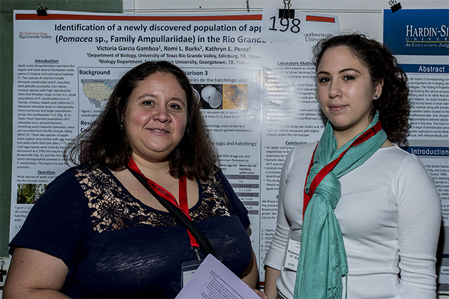 Recently published research by Dr. Kathryn Perez (at left), assistant professor of biology at UTRGV, and her student, Victoria Garcia Gamboa, who graduated in 2016, confirms the existence of an invasive species of freshwater snail – Pomacea maculate, or Apple snail– in the Rio Grande Valley. Because the snail can do extensive damage to citrus and other crops, Perez is seeking community support to help eradicate the snail's bright pink egg sacs that already have been found in a former fish hatchery in Brownsville, before they can spread to other bodies of water. Gamboa's poster presentation won the Best Poster Presentation award in the Systematics and Evolutionary Biology Section of the Texas Academy of Science, at its annual meeting in 2016. (Courtesy Photo)