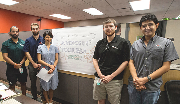 Students from the UTRGV School of Medicine's Class of 2020 created podcasts for incoming medical students, to help them navigate through their first year of medical school. Pictured (from left) are Class of 2020 medical students Shawn Izadi, Michael LaPelusa, Joy Alvarado, Keith Garrison and Ramiro Tovar. (UTRGV Photo by Silver Salas)
