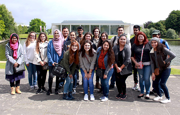 UTRGV students attended philosophy and theatre summer study abroad classes in Dublin, Ireland, during the month of June. The group of 19 students paused for a photo on the University College Dublin campus, where their classes were conducted by Dr. Thomas Pearson and Dr. Brian Warren, UTRGV professors. In front, from left are Arlet Villarreal, Sofia Alejo and Genoveva Jaimes. Middle row: Sidra Rafaqut, Lillianne Villarreal, Martha Garcia, Aiza Nisar, Sonia Wadekar, Julissa Sanchez, Brianna Adriana, Samantha Luchsinger, Victoria Walls and Kassandra Salazar. Back row: Oscar Trujillo, Sunil Athyala, Daniel Garza, Patrick Andrade, Hari Kotta and Jaysonn Vel. (Courtesy Photo)