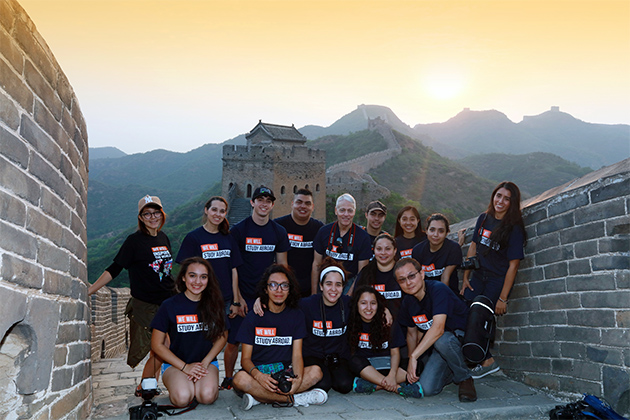 UTRGV students participated in a month-long study abroad experience in China, where they studied photography and graphic design with Dr. Ping Xu and Dr. Robert Gilbert. Early in the trip, the group witnessed the sunrise and the sunset as they hiked along the Jinshanling section of the Great Wall of China, seen here. The group included, front row from left: Cynthia Cantu, Arael Meza, Marcela Terrazas, Michelle Mata, Eufemia Mata and Dr. Ping Xu. Standing, from left: Carissa Leal, Dianella Cantu, Christian Alvarado, Josue Campos, Dr. Robert Gilbert, Manuel Perez, Zhikynah Lamsis, Judy Garcia and Samantha Ruiz. Not pictured: Ariadny Balderas, Rebecca Bui, Aleena Romy and Annsuriya Saji. (UTRGV Courtesy Photo)