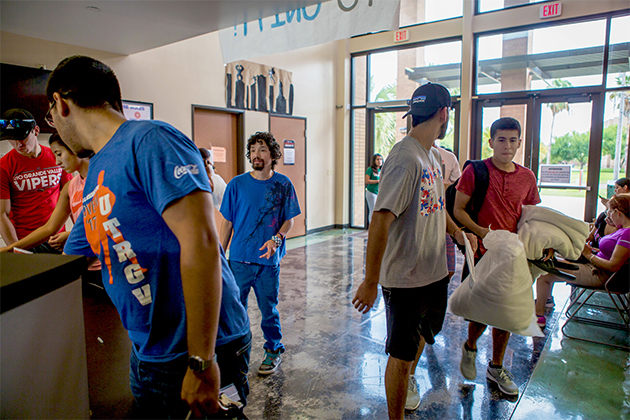 Students moved into Unity Hall on UTRGV's Edinburg Campus on Thursday, while students moving into Brownsville student housing were rescheduled for move-in from Friday to Sunday because of severe weather concerns. In total, about 900 students moved into UTRGV student housing before the first day of classes on Monday Aug 28, 2017. (UTRGV Photos by Silver Salas)