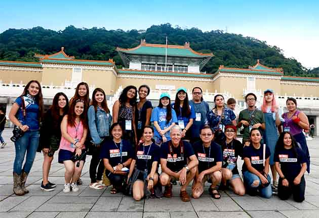 Twenty UTRGV study abroad students were volunteer teachers for a month in Taiwan, in the Changhua Department of Education's Summer English Camp. The study abroad trip was led by Dr. Ping Xu and Dr. Robert Gilbert, both professors of graphic design in the UTRGV School of Art. (Courtesy Photo)