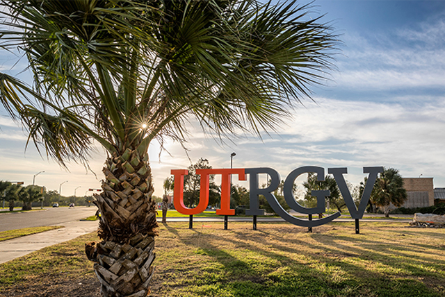 UTRGV Letters and a Palm