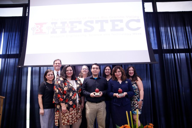 UTRGV presented its HESTEC ExxonMobil Educator Day 2017 Awards to educators Jerri Pineda(pictured front right), a math teacher at Santa Rosa High School, and Ricardo Ramirez (pictured center), a science teacher at San Benito High School, Monday, Oct. 2, during HESTEC Educator Day. (UTRGV Photo by Paul Chouy)