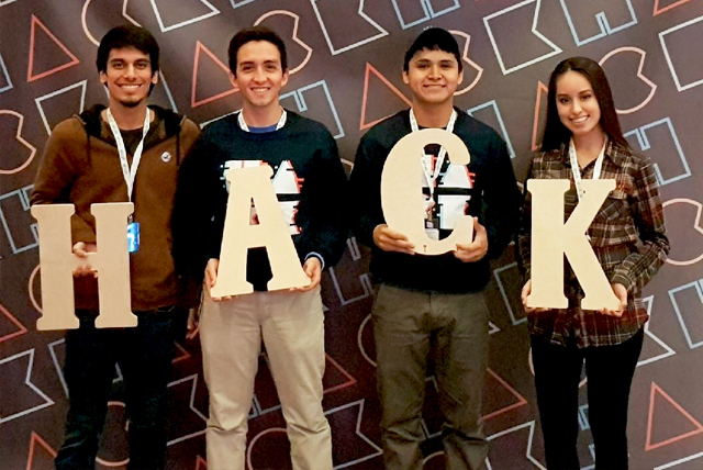 Three UTRGV students were chosen from a large international pool of applicants to attend HackMIT 2017, one of the largest hackathons in the world, held in September in Cambridge, Massachusetts. One thousand students were selected to attend, and were divided into 250 teams. From those teams, Microsoft chose the UTRGV students and one partner from the University of Miami to work on a challenge to help program their world's first holographic computer, the Microsoft Hololens. The UTRGV team, from left, is UTRGV senior Roy Marroquin, a computer hardware engineering major; Germán Quiros, from the University of Miami; UTRGV senior Michael Rayas, an electrical engineering major; and UTRGV senior Abigail Gomez, a computer hardware engineering major. (Courtesy Photo)