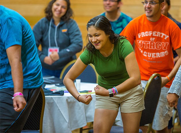 UTRGV's student leadership retreats and activities, like the one shown here on June 1, 2017, help prepare students for success by focusing on critical development issues like teamwork and empowerment. (UTRGV Archive Photo by David Pike)