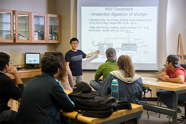 The University of Texas Rio Grande Valley has been ranked in the top seven colleges in Texas for civil engineering majors by Zippia.com, a career resource website. Shown here is UTRGV Civil Engineering Assistant Professor Jongmin Kim during a class at the Academic Services building on the Edinburg Campus. (UTRGV Archive Photo by Paul Chouy)