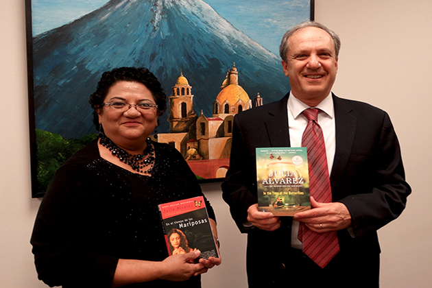 The NEA Big Read in the Rio Grande Valley will focus on the novel 'In the Time of the Butterflies' by Julia Alvarez. Holding copies of the book are Leticia Leija, the director of the Dustin Michael Sekula Memorial Library and Dr. Steven Schneider, professor of Creative Writing in the College of Fine Arts at UTRGV. This is the fourth successfully funded NEA Big Read grant written by Schneider.